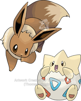 Commission - Togepi and Eevee by Tails19950