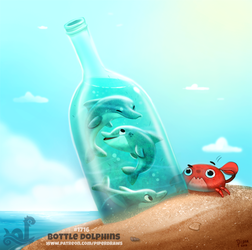 Daily Painting 1716# Bottle Dolphin by Cryptid-Creations