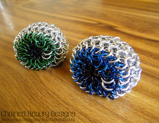 Green and Blue Eyeball Footbags by ChainedBeauty