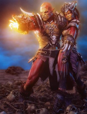 Fantasy Red Orc Magician + Warrior, 3D Iray Art by shibashake