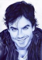 Ian Somerhalder pen drawing by 22Zitty22