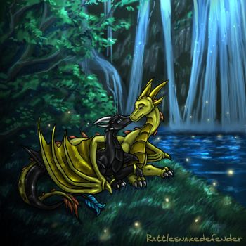 Cuddles by a Waterfall -Night- by Aponder