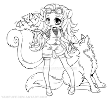 Skunk Girl with Wolf and Bat - Lineart Commission by YamPuff