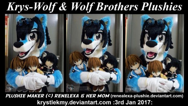 Krys-Wolf Fursuit and Wolf Brothers Plushies by krystlekmy