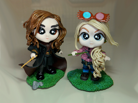 Chibi Hermione and Luna (Harry Potter Commission) by maga-01