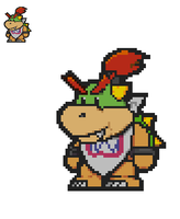 Paper Bowser Jr. sprite (64 Style) by Karasu-96