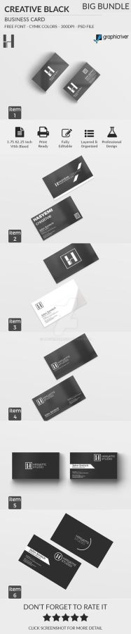Creative Black and White Business Card BIG Bundle