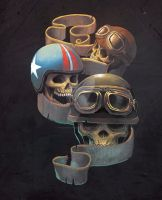 Biker skulls and banner decal concept by BlackHawk45LC