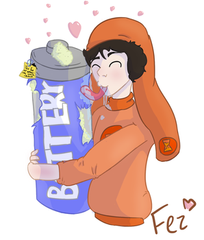 Solar Sands licking his corroded battery - fanart by Fluffy-fez