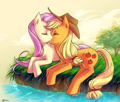 Applejack and Fluttershy by KatiraMoon