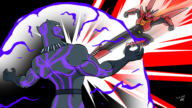 Commission - Black Panther vs Kamen Rider Build by RetroUniverseArt
