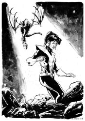 Kitty Pryde and Lockheed by stokesbook
