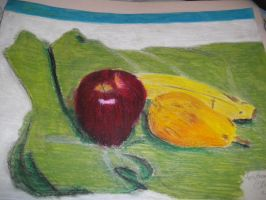 Oil pastel 1 - Fruit on cloth by artisticTaurean