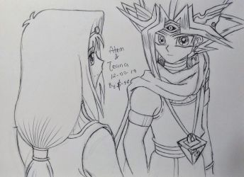 YGO ::Teana and Atem:: Sketch II by Sunney90