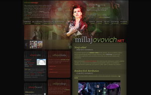 Milla Jovovich webdesign by perlaque