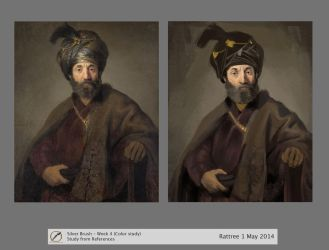 Color Study - Rembrandt painting of turban old man by rattree