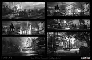 Infamous 2 - Red Light City District - Thumbnails by ScribblePadStudios