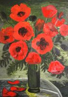 bouquet of red poppies by YvesLaucher