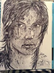 We Can Breathe Again - Tomb Raider Sharpie sketch by Amanda-Lara1996