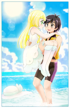 Sun and Lillie - Commission by chikorita85