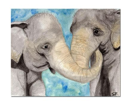 Elephants in Love Watercolor by SamIamArt