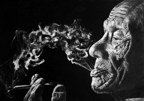 Old Man Smoking (pencil Drawing) by Steve2656