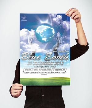 Blue earth dance club flyer by Lemongraphic