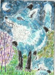 Mother  Fox Dawn and baby  Luna  watercolor aceo by tulipteardrops
