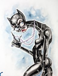 Tim Burtons Catwoman Watercolor Painting by asunder