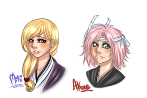 Miki and Akane - Bust Commissions by Mama-Moose