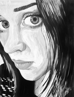 Black and White Self Portrait by theanimeaxis