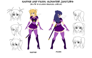 Nadine and Fawn: Monster Janitors Model Sheet by wbd