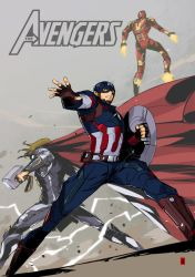 CaptainAmericaTHORIronMan by the-hary