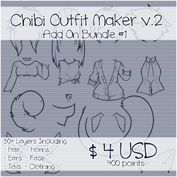 Chibi Outfit Maker v.2 Add On Bundle #1 by Omega-Fluff