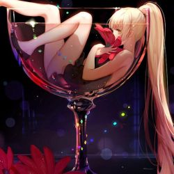 Anime Blond In A Cup Holding A Flower by HotTopic2354