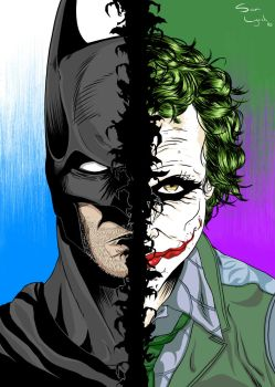 Batman -VS- Joker by samscave