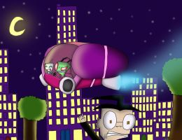 Zim in the City by dragonfire1000