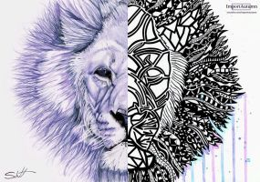 Zentangle Lion Collab with Schutt ART [Version 2] by ImportAutumn