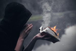 The burning of the Holy book on the black lake 2 by Valentietokyo