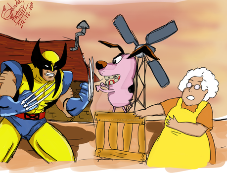 Courage, the Cowardly Dog vs Wolverine 90 by DudaMartinsz