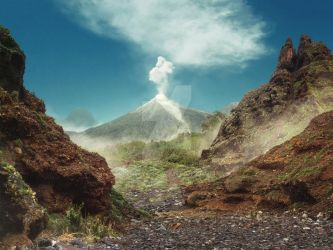 [Premade Background] Volcano by Rowye