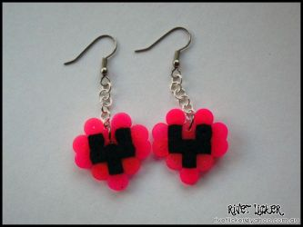 8-Bit Heart Earrings - Neon Pink by angeleyezxtc