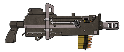 Hand-held Browning M1919 w/ textures by dragonitearmy