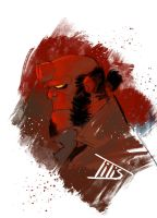 Fast color sketch Hellboy... by IttoOgamy