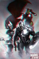Cap, Thor and Iron Man in 3D Anaglyph by xmancyclops