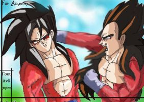 SSJ4 vs SSJ4 - For Atlantiya by The-Ebony-Phoenix