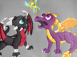 spyro, cynder and sparx by dudidraak