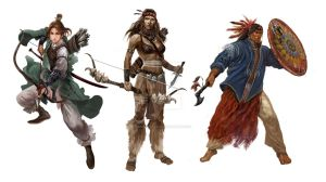 Character Design - 3 Warriors by ShelbyWinter