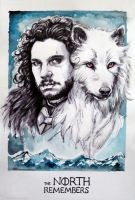 Jon Snow and Ghost by csillabold