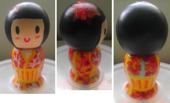 Autumn Kokeshi Doll by Froggy-Spaztastic